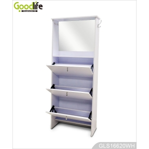 Durable wooden trapezoid shoe cabinet with mirror save space with 3 shoe shelf storage cabinet.