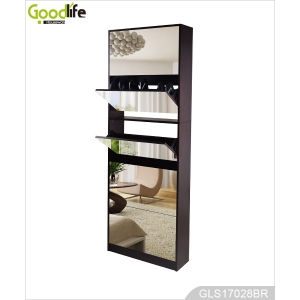 Each 2 layer in 5 drawers modern elegant shoe cabinet with mirror cover