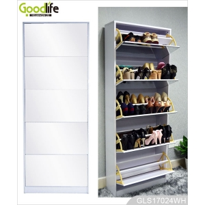 Each 2 layer in 5 drawers wooden shoe storage cabinet with mirror cover