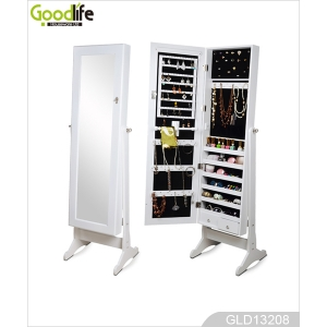 Earrings organizer jewelry cabinet whit floor standing mirror GLD13208