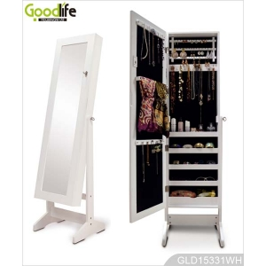 Europe Amazon hot selling standing jewelry storage cabinet dresser mirror GLD15331