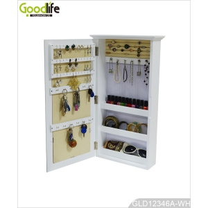 Europe style frame wooden mirror cabinet for jewelry and key with wall mount function