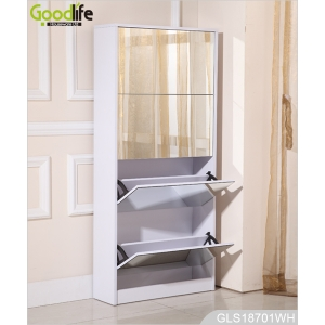 Factory wholesale 4 layers wooden shoe rack with mirrors GLS18701