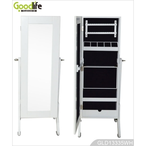 Floor standing jewelry cabinet with full length mirror GLD13335
