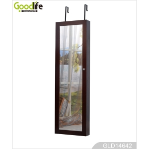 Floor standing mirror jewelry cabinet wholesale mirrored jewelry box GLD14642
