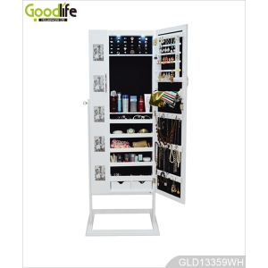 Floor standing mirror jewelry cabinet with LED light with two doors GLD13359