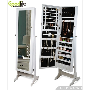 Floor standing wooden mirrored jewelry storage cabinet from Goodlife GLD13218