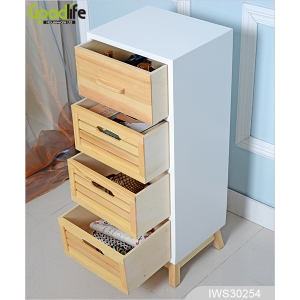 Four drawers wooden storage cabinet in pine wood for bedroom furniture IWS30254