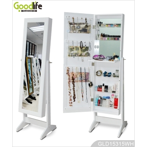 Freestanding full length wooden jewelry cabinet with mirror GLD15315