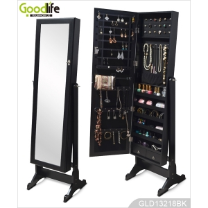 Freestanding wooden jewelry cabinet with mirror and makeup organizer drawers GLD13218