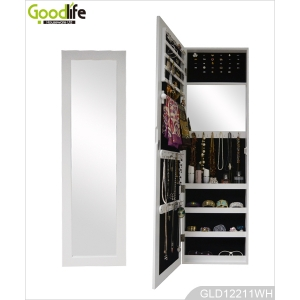 Full Length Mirror Wooden Jewelry Cabinet Hanging Over the Door GLD12211