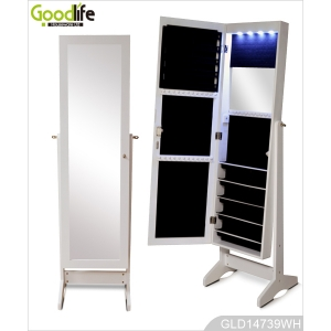 Full length dressing mirror with storage cabinet for jewelry with LED lights inside GLD14739