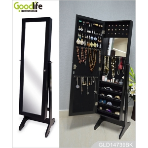 Full length jewelry cabinet mirror with 3 installing functions GLD14739