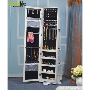 Full length large mirrored wooden jewelry cabinet with revolving base GLD17143