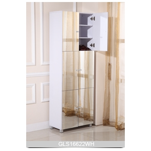 Full-length mirror shoe cabinet with six doors for storage and space saving modern simple design