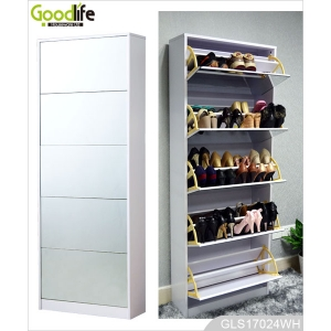 Full length mirror shoe storage cabinet for home GLS17024