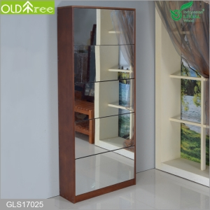 Full length solid wood shoe cabinet  with mirror and the inside cabinet with two layer storage shelf