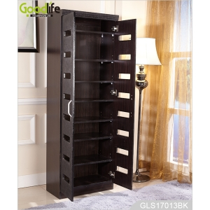 Full length wooden shoe storage cabinet with movable panels GLS17013