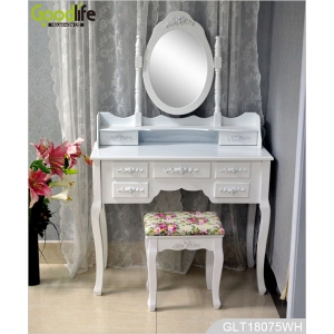 Latest bedroom design white dressing table with jewelry storage function