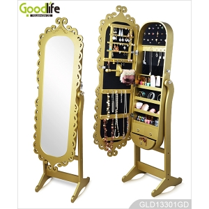 Golden Carving Door Oval Wooden Jewelry Cabinet with Mirror GLD13301