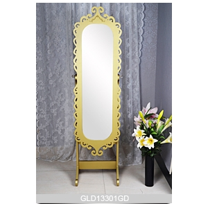 Golden Carving Door Oval Wooden Jewelry Cabinet With Mirror