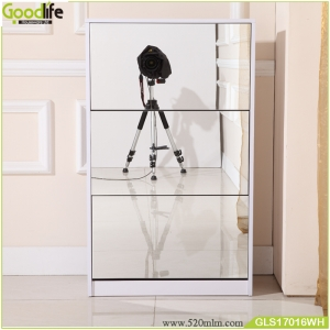 Goodlife houseware solid wood shoe wardobe  with three dressing mirror and the inside cabinet with two layer storage shelf