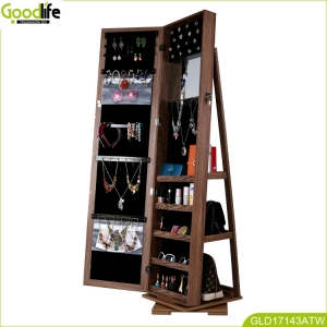 Goodlife new design rotating jewellery cabinet made of African teak wood  GLD17143