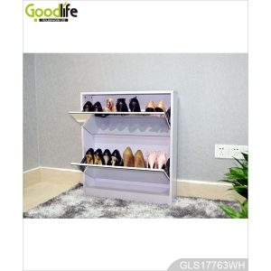 Guangdong furniture wooden mirrored shoe rack with 3 layer GLS17763