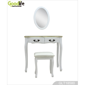 Hallway vanity table in solid wood stand with oval mirror GLT18580