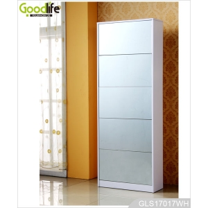 Hallway wooden shoe organizing cabinet with full length mirror GLS17017