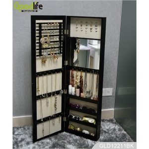 Hang wall cabinet design for storage jewelry with inside mirror GLD14741