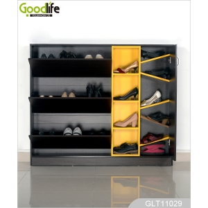 High gloss paint 3 layers wooden shoe cabinet factory wholesale GLS11029