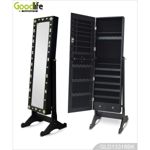 High quality MDF black full-length mirrored jewelry armoire with acryl diamond decorated