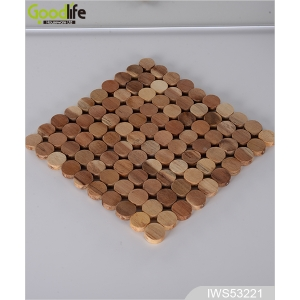 High quality rubber wood coaster , coffee pad ,Wood color IWS53221