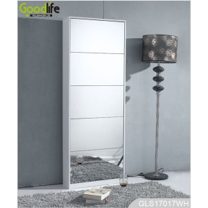 Home furniture 5 layer wooden shoe cabinet with mirror cover GLS17017