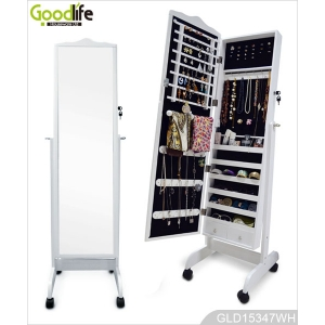 Home furniture wooden mirror jewelry armoire with full length mirror GLD15347