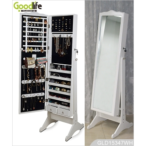 Hot Sale Goodlife Standing Wooden Mirrored Jewelry Cabinet GLD15347