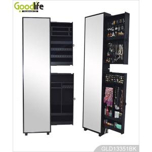 Hot Sale Side Pulling Jewelry Storage Cabinet with Full Length Dressing Mirror GLD13351