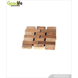 Hot selling joint panel rubber wood coaster , coffee pad,Wood color IWS53214
