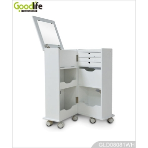 Jewelry holder white movable wooden cosmetic cabinet with free wheels
