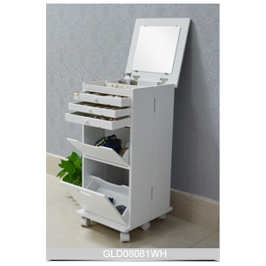 Jewelry Holder White Movable Wooden Cosmetic Cabinet With