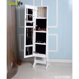 Jewelry storage cabinet with floor standing mirror GLD13306