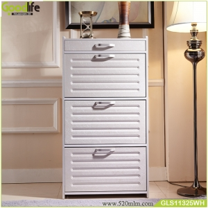Knock down package mail order no damage waterproof  shoe rack wooden cabinet with drawer for OEM/ODM