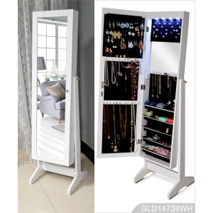 LED light design wooden standing mirror jewelry armoire