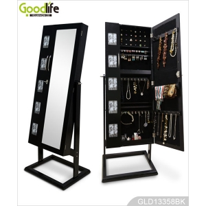 Large square double doors mirrored wooden jewelry cabinet with photo frames GLD13358