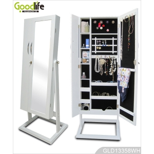 Large wooden cabinet for jewelry and accessory storage with dressing mirror GLD13357