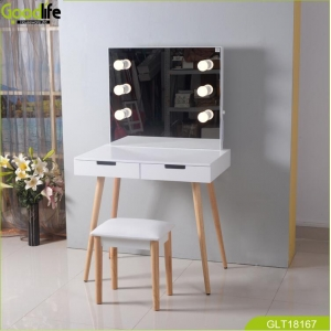 Latest design wooden makeup table set from GoodLife  with mirror tow drawers for storage cosmetics jewelry save space GLT18167