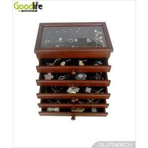 Lovely wooden jewelry storage box with drawers for girls GLJ70406