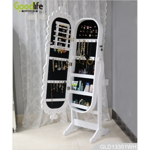 Luxury Bedroom Vanities Wooden Carved Jewelry Cabinet with Dressing Mirror