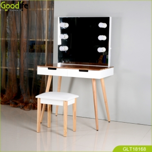 Luxury dressing table set with LED light and finger joint wood table top quality modern simple design GLT18168.